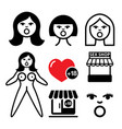 inflatable sex doll sex shop icons set vector image vector image