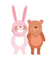 little rabbit and bear cartoon character on white vector image vector image