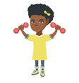little smiling african girl holding dumbbells vector image vector image