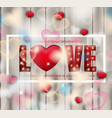 love red letters card with lights realistic vector image vector image