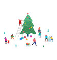 merry christmas winter scene with a big xmas tree vector image