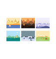 natural landscape set cute beautiful scenes of vector image