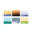 natural landscape set cute beautiful scenes of vector image vector image
