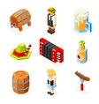 oktoberfest isometric 3d polygon icons set beer vector image