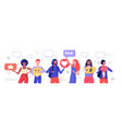 people holding different icons social media vector image vector image