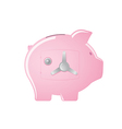 Pink piggy bank with a safe door vector image vector image