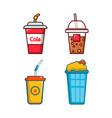 plastic cup icon set cartoon style vector image vector image