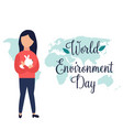 poster world environment day girl holding rabbit vector image vector image