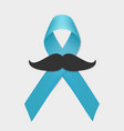 prostate cancer blue ribbon and mustache isolated vector image