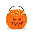 pumpkin basket for halloween trick or treat corn vector image vector image
