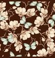 romantic vintage magnolia and butterflies vector image