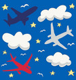 seamless baby pattern with flying planes and cloud vector image vector image