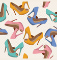 seamless pattern with bright fashion shoes vector image vector image