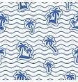 Seamless wavy line pattern with palms
