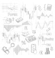 set business doodle elements forex market hand vector image