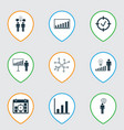 set of 9 board icons includes bar chart project vector image vector image