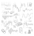 Set of business doodle elements Forex market hand vector image