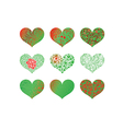 Set of pattern heart vector image vector image