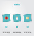 set of store icons flat style symbols with mobile vector image