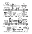 set of tea collection with a tea pot tea cup jars vector image vector image