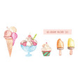 set of watercolor ice cream isolated for fabric vector image vector image