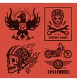 set vintage motorcycle labels vector image vector image