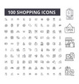 shopping editable line icons 100 set vector image vector image