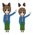 short hair girl with cat ears presenting vector image