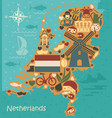 stylized map of the netherlands vector image vector image