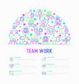 teamwork concept in half circle vector image vector image