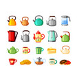 teapots and electric kettles large set metal vector image vector image