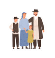 traditional jews smiling cartoon family vector image vector image