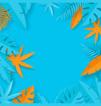 tropical summer leaves - paper art vector image