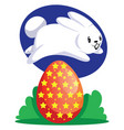 white easter rabbit jumping over red egg web on vector image