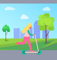 woman riding on scooter vehicle in city park vector image