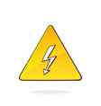 yellow high voltage symbol with electric lightning vector image