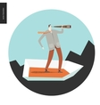 Businessman with a telescope in boat vector image
