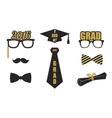 Graduation elements set Gold black flat vector image