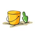 yellow bucket and scraper vector image