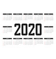 2020 calendar template simple calendar basic grid vector image