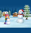 a girl making snowman in winter and snowy landscap vector image vector image