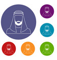arabic man in traditional muslim hat icons set vector image vector image