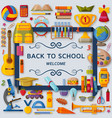 back to school background with 3d paper cut signs vector image vector image