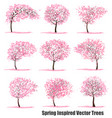 big set spring inspired trees vector image