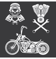 bikers theme labels with motorbikeskullengine and vector image vector image