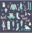 blue christmas set vector image