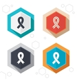 Breast cancer awareness icons Ribbon signs vector image vector image