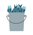 bucket of fish fresh cooking food vector image vector image