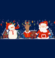 cartoon banner for holiday theme with deersnowman vector image vector image