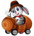 cartoon rabbit driving a toy car vector image vector image